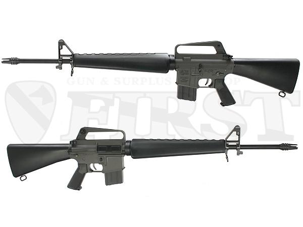 初期型M16のイメージを再現した明るいグレーカラーの機関部。ストック後部はA1とは異なるゴムのキャップになっており、取り外してバッテリー交換する