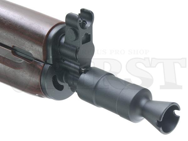 クリンコフの特徴である、ガス燃焼チャンバーを兼ねたマズル部分。金属製でリアルに再現。工具無しで取り外せる