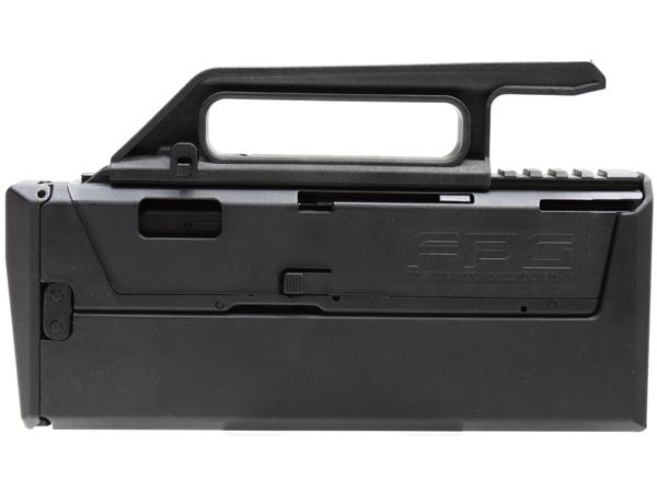 キャリングハンドルを取り外せば長さ170mmのレイルが現れ、ダットサイトやスコープなど本格的なオプション装着も可能