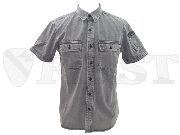 【アウトレット特価】6155102 S/S ファティーグ アーミーシャツ Charcol Mサイズ AVIREX