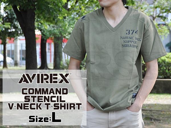 6163357 Vネック Tシャツ コマンド ステンシル オリーブ Lサイズ