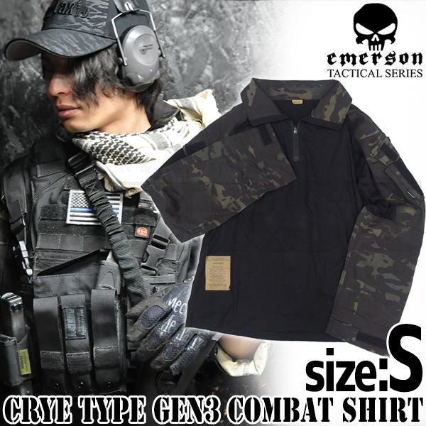 EMERSON製 CRYEタイプ GEN3 コンバットシャツ マルチカムブラック Sサイズ