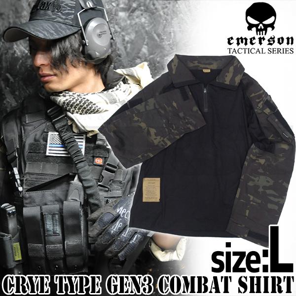 CRYEタイプ GEN3 コンバットシャツ マルチカムブラック Lサイズ