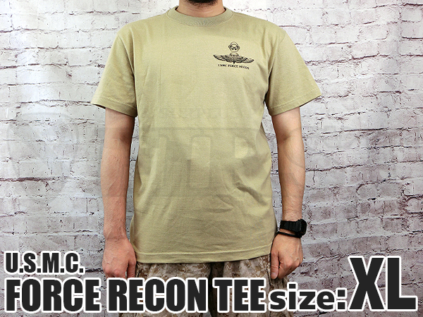 U.S.M.C. FORCE RECON Tシャツ KH XLサイズ