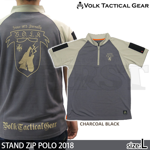STAND ZIP POLO 2018 CHARCOAL BLACK Lサイズ