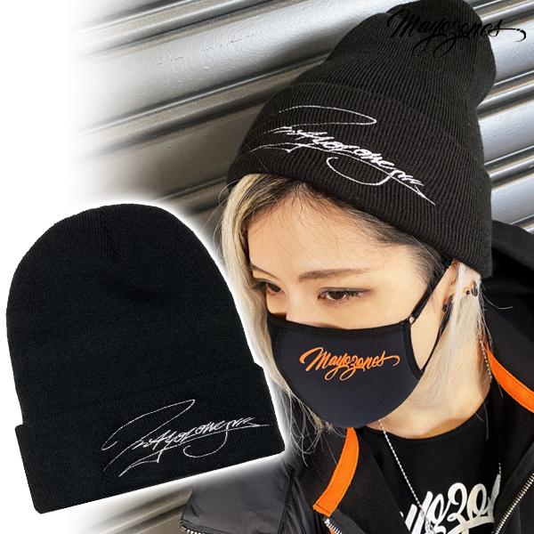 【MAYOZONES】グラフィティ ロゴ Cap ブラック (ホワイト刺繍)
