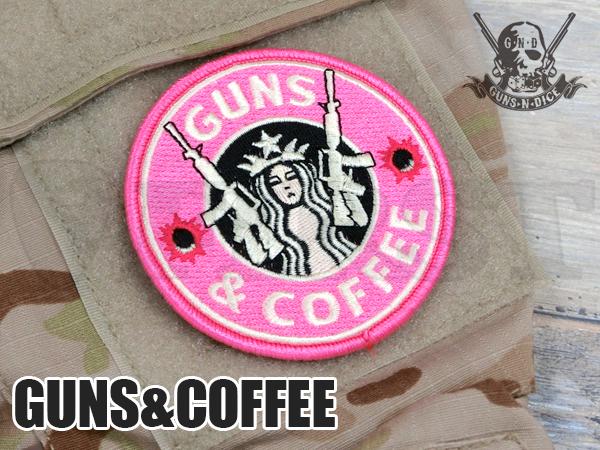 ミリタリーパッチ 「GUNS&COFFEE (ピンク)」 ベルクロ