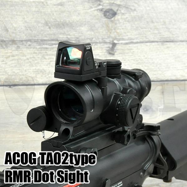 ACOG TA02タイプ 4倍固定スコープ RMRドットサイト付き BK