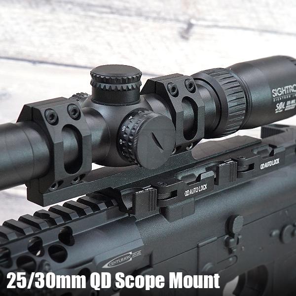 AMERICAN DEFENSEタイプ 25/30mm径 QD ワンピーススコープマウント BK